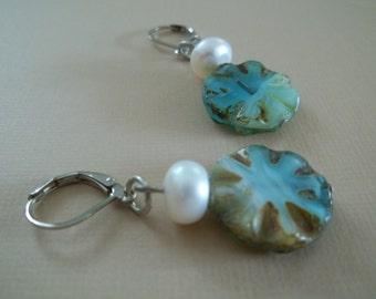Ariel - Earthy blue and green earrings