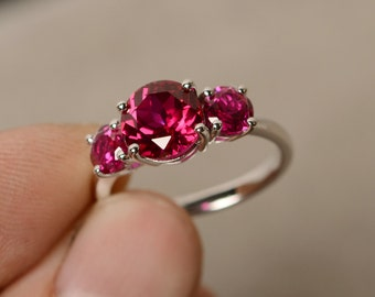 Ruby Ring Three Stone Ring Sterling Silver Promise Ring