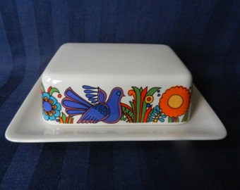 Fabulous rare butter dish by Villeroy and Boch of Luxemburg with the Acapulco pattern design by Christine Reuter in 1967 , MINT !