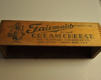 RARE Fairmont Wooden Cream Cheese Box FAIRMAID