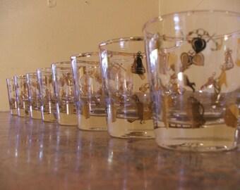 Set of Eight (8) Vintage 1960s Gold Charm Bracelet HighBall / Rocks Glasses