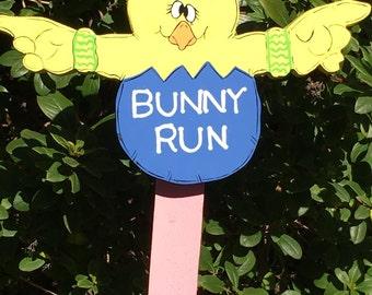 Cute Blue Yellow Bunny Run Garden Stake