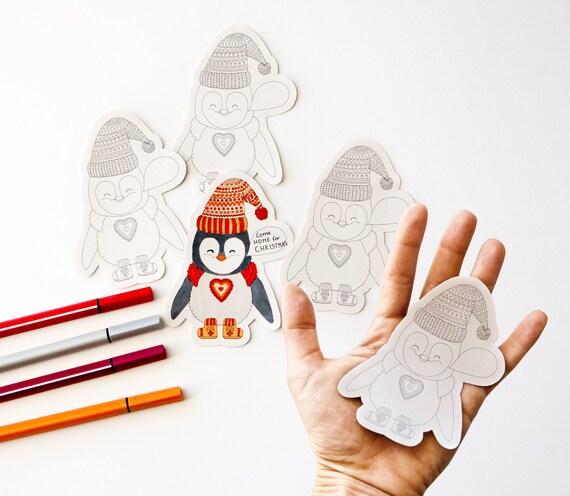 4 big Coloring Stickers Penguin adult Zen doodling nature
