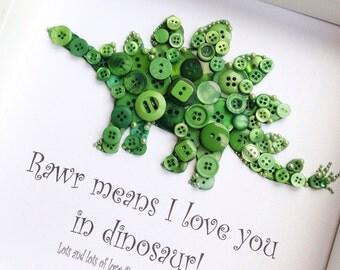 Custom Dinosaur Sign - Framed Dinosaur Picture - Framed Dinosaur Art - Dinosaur Button Art - Dino Art - Dinosaur Nursery Decor - Dino Decor