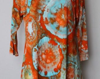 Tie dye Women's 3/4 sleeve tunic blouse - Tequila Sunrise Bullseye - Size Small