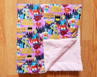 Handmade Girl Superhero minky fleece blanket, minky fleece cotton blanket, baby girl superhero blanket, baby girl superhero playmat
