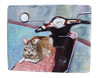 """Fine Art Print of Istanbul Cityscape Painting from Artist Travel Journal – """"The Blue Eyed Cat"""""""