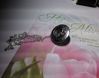 Rare Mermaid Tale Antique Silver Photo Locket Chain Necklace