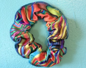 VINTAGE PSYCHEDELIC SCRUNCHY, 80s/90s/silky/rainbow
