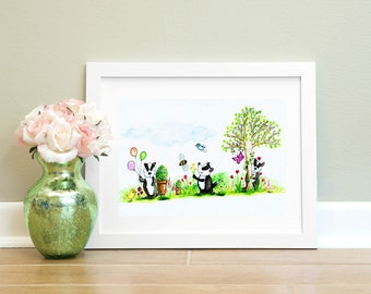 Badgers Playing in The Garden Print. Cute Badger Print. Wall Art. Nursery Print. Watercolour Artist.