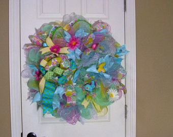 Easter srping mint green, blue pink and yellow deco mesh wreath