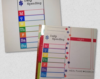 Daily Spending stickers for the Plum Paper, Erin Condren and other planners.