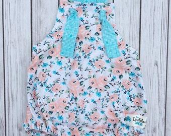 Peach and Aqua Romper , Peach Floral Romper , Aqua Romper , Peach baby Romper , Aqua Baby romper , Floral Baby romper , Birthday Romper