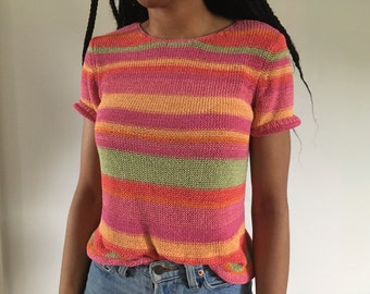 Multicolor Short Sleeve Sweater Shirt Sz Small