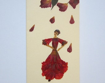 """Handmade unique greeting card """"In the nature's rhythm"""" - Decorated with dried pressed flowers and herbs - Original art collage."""