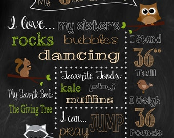 Woodland Animal Birthday Chalkboard *printable*