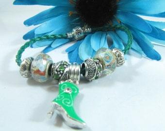 European Style Leather Murano Glass Beads and Charm Bracelets