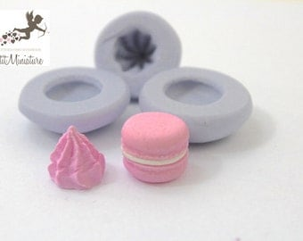 KIT3 Mold Flexible Silicone macaron, 1.2 cm Miniature food, jewelry, charms, macaron, fimo, polymer clay, resin, soap, sweet, Paris ST271
