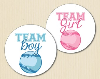 BASEBALL Gender Reveal Party Sticker, Team Boy, Team Girl, Sports Baby Shower, Team Pink Labels, Team Blue, Team He, Team She
