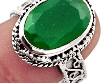 Ring sterling silver. 925 green chalcedony
