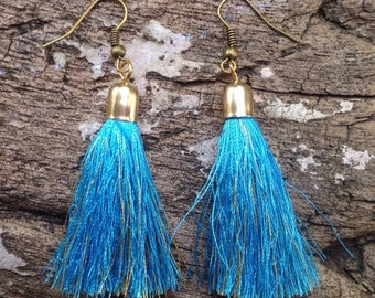 Earrings blue sky silk tassels
