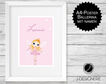 A4 Art Print with name I ballerina