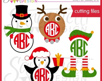 Christmas Monogram SVG cutting file for Cricut Silhouette Commercial Use License Included