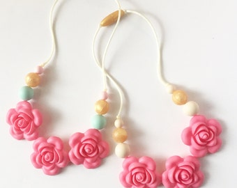 Girls Rose Silicone Teething Necklace, Little Girls Jewelry, Flower Necklace for Girl, Chewable Necklace for Toddler, Childrens Necklace