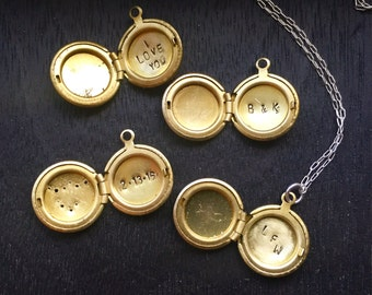 Personalized inscribed locket - small antique brass locket with hidden message hand stamped inside - initial necklace