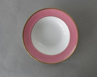 Antique Royal Doulton Rimmed Soup Bowl - white bone china with pink band, gold encrusted rim, circa 1916 | Made in England