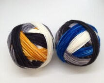 "SALE: ""The droids you're looking for"" Star Wars/R2-D2 + BB8 inspired self-striping sock yarn"