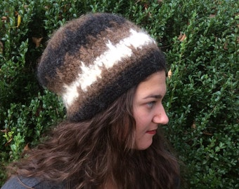 Brown Felted Wool Oversized Hat