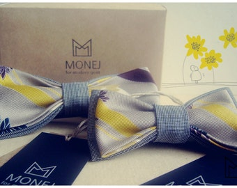 Father Son Bow Tie Set- Gray Bow Ties- Yellow Bowtie- Flower Bowtie- Kids Bowties-  Dad Gifts- Father Gift- Custom bowtie