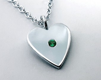 Emerald Heart Necklace Pendant in Sterling Silver - Silver Heart Necklace, Sterling Heart Necklace, Emerald Heart Pendant, Heart Necklace