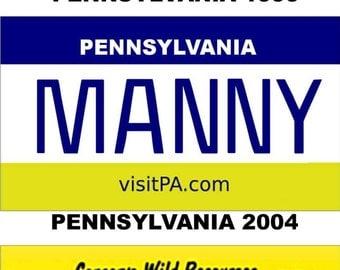Personalized Pennsylvania Refrigerator Magnet State License Plate Replica
