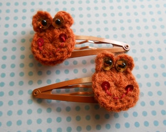Crocheted Hair Clips Orange Frogs Set of 2