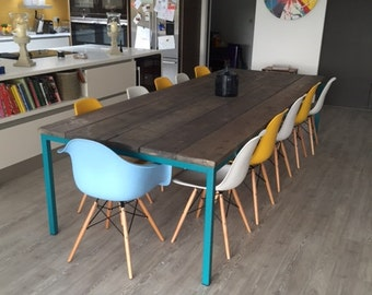 Reclaimed industrial chic 10 12 seater solid wood and metal for 12 seater wooden dining table