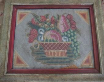 Vintage Framed Needlepoint Basket of Fruit