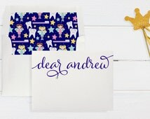 Personalized Tooth Fairy Card on Shimmer Cardsstock with Sparkling Austrian Crystal Star Accent and Adorable Tooth Envelope Liner