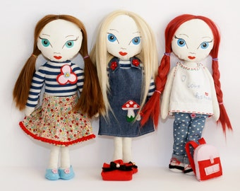 Doll Pattern. Doll Sewing Pattern PDF Instant Download Stuffed Toy Tutorial. Fabric doll pattern. Doll patern PDF. Doll PDF tutorial.