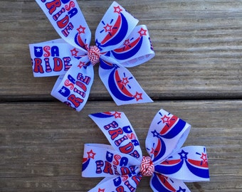 Set of 2 USA Pride pig tail hair bows- patriotic- 4th of July- Labor Day- Veterans Day- Flag Day- Memorial Day- Red, white and blue
