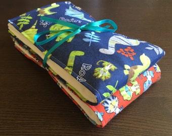 Dinosaur & Saber-toothed tiger cloth diaper burp cloth set