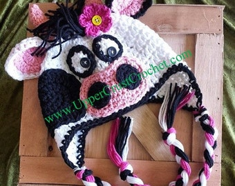 Crochet Crazy Lulabelle Cow Earflap Hat Pattern (Newborn - Adult sizes available)