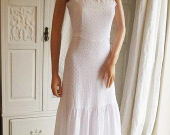 Vintage 70s white lace dress Broderie Anglaise White cotton maxi dress Boho Wedding dress White summer dress White cotton lace dress