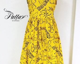 Vintage yellow flower print dress,