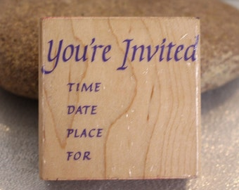 Vintage You're Invited Stamp - Wood Stamp for Scrapbooking or Card Making 1990