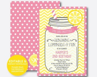 Instant Download, Editable Lemonade Birthday Invitation, Pink Lemonade Invitation, Lemonade Stand Invitation, Girl Invitation (SKB.37)