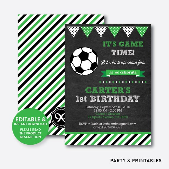 Instant download editable soccer birthday invitation soccer ball il570xn stopboris Choice Image