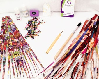 Paper Bead Kit with Paper Bead Roller, Precut Paper Strips, Brush, Varnish, Glue, Elastic Stringing Cord and Glass Beads