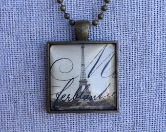 Antiqued Brass Eiffel Tower Pendant